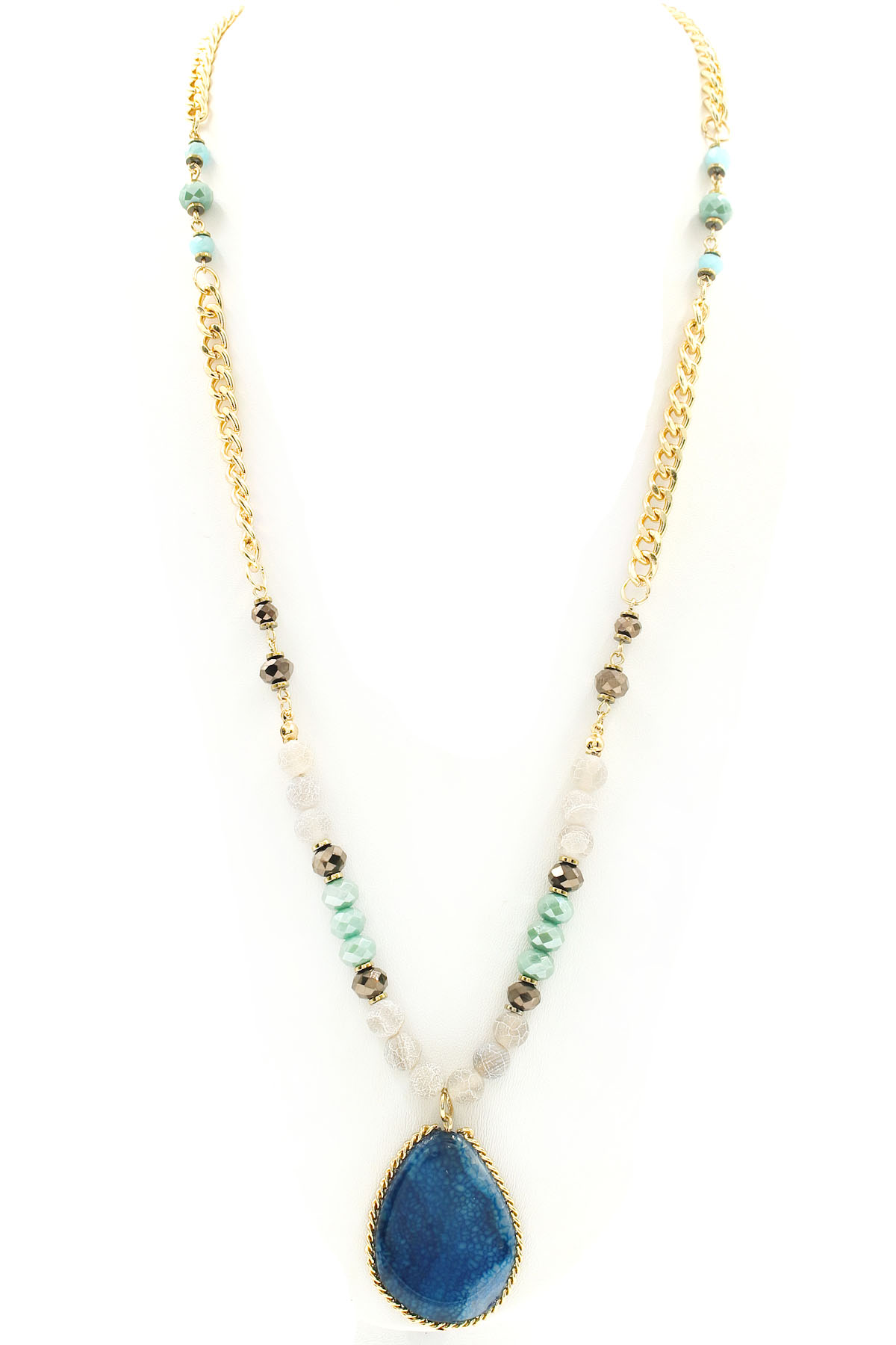 Natural Stone Jewelry : Glass bead with natural stone pendant necklace necklaces