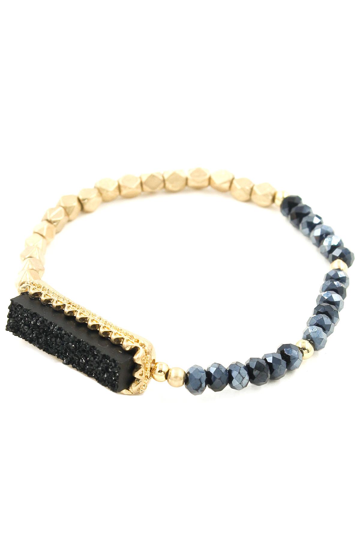 druzy glass bead stretch bracelet bracelets