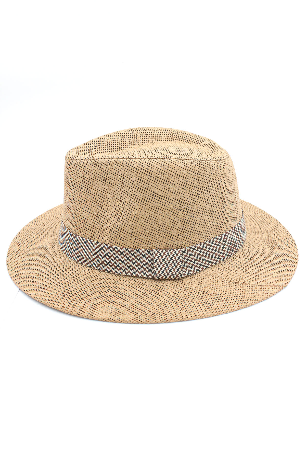 Paper Hat with Houndstooth Print Detail - Hats
