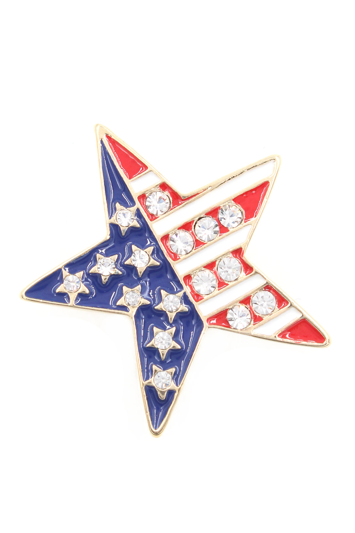 Enamel American Flag Star Pin - Pins & Brooches