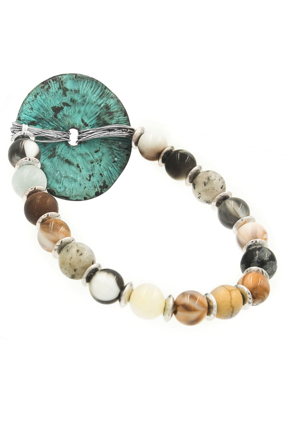 beaded hammered disc bracelet bracelets