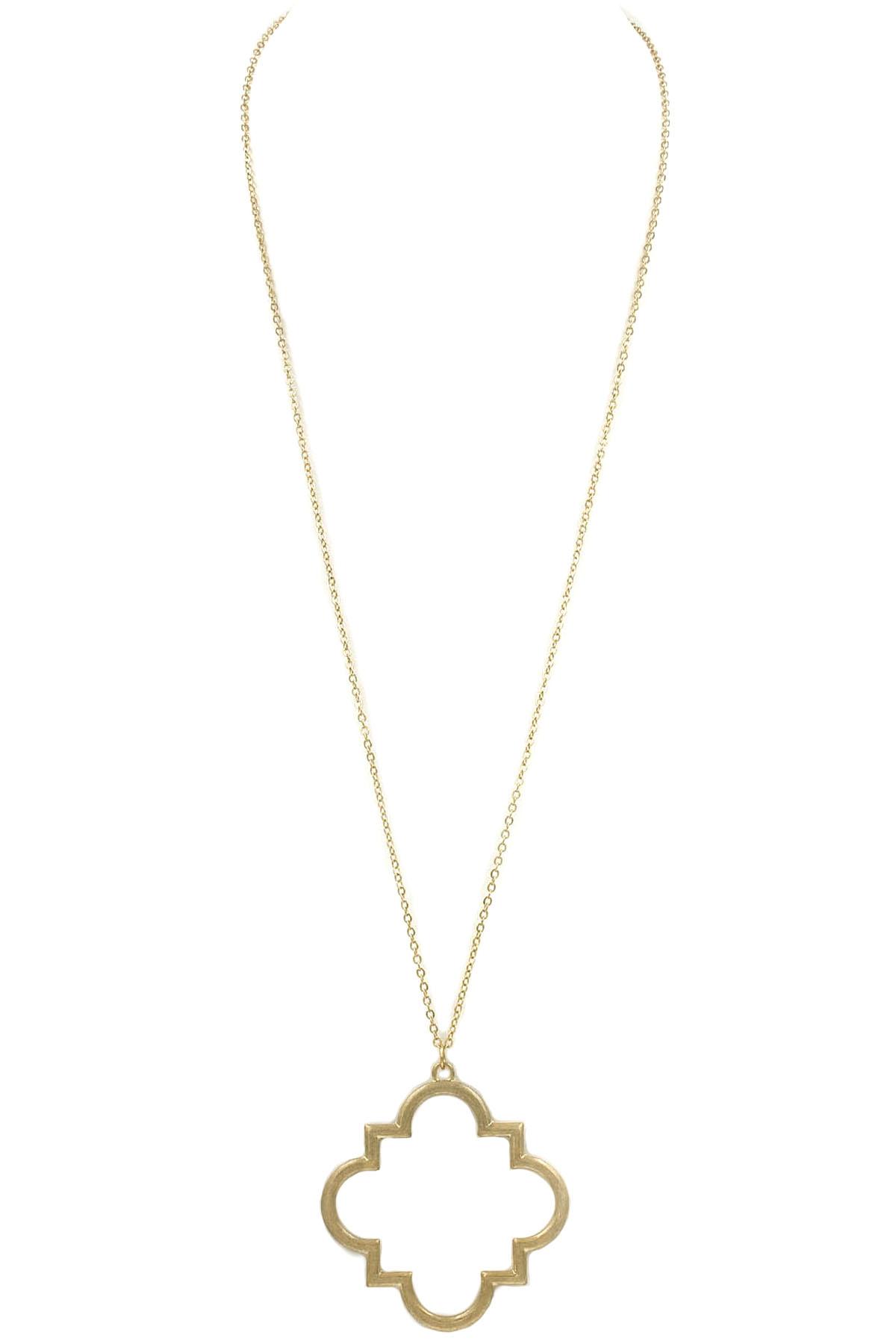 Metal quatrefoil pendant necklace necklaces metal quatrefoil pendant necklace aloadofball Choice Image