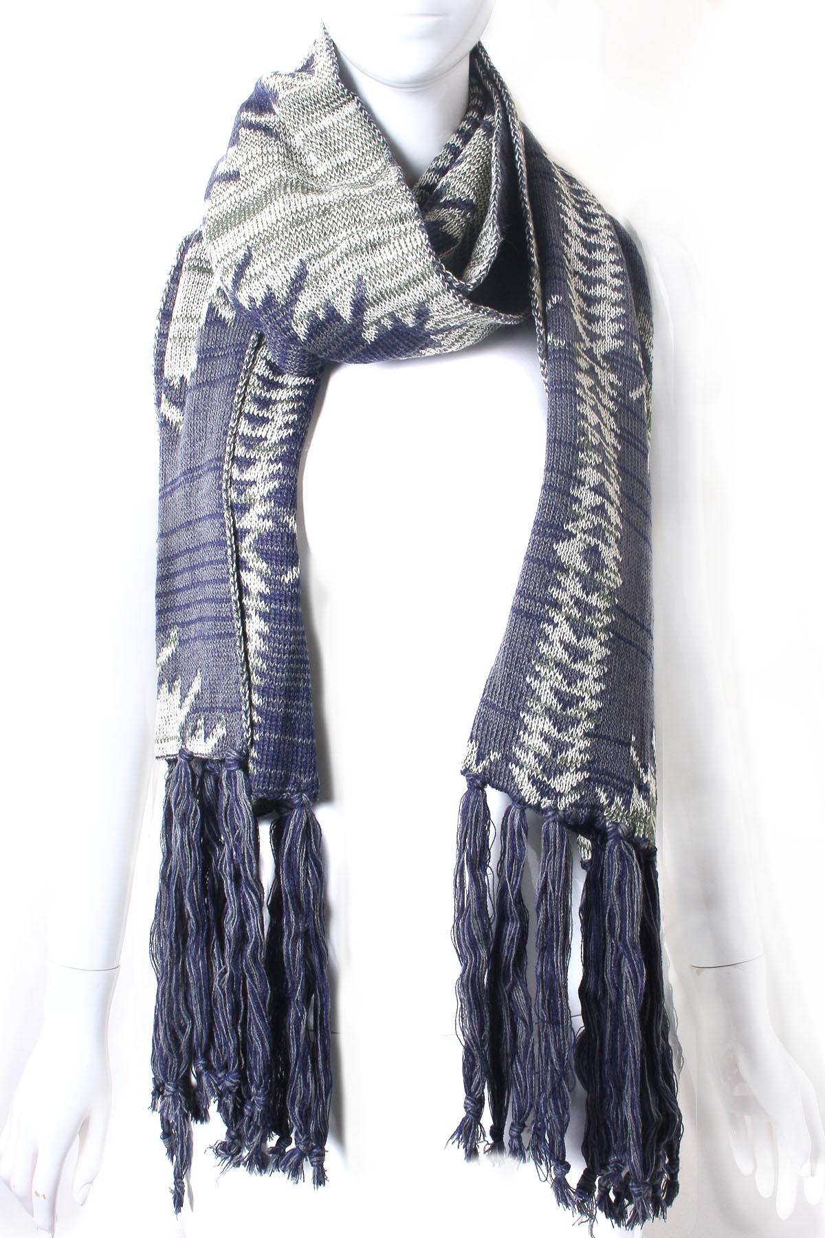 knit aztec pattern oblong scarf
