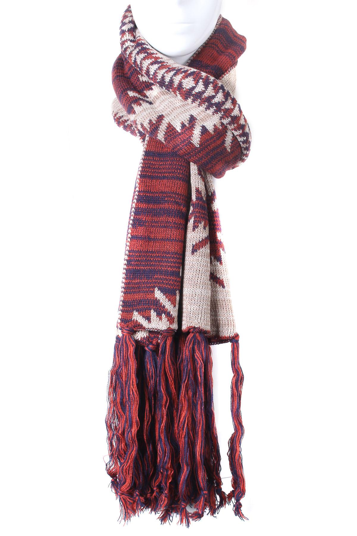 Aztec Knitting Pattern : Knit Aztec Pattern Oblong Scarf - Scarves
