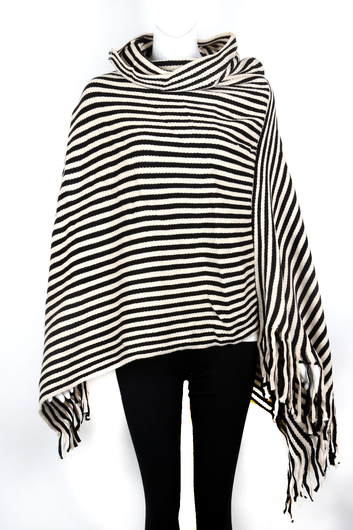 Knitting Pattern Striped Poncho : Knitted Stripe Poncho - Scarves
