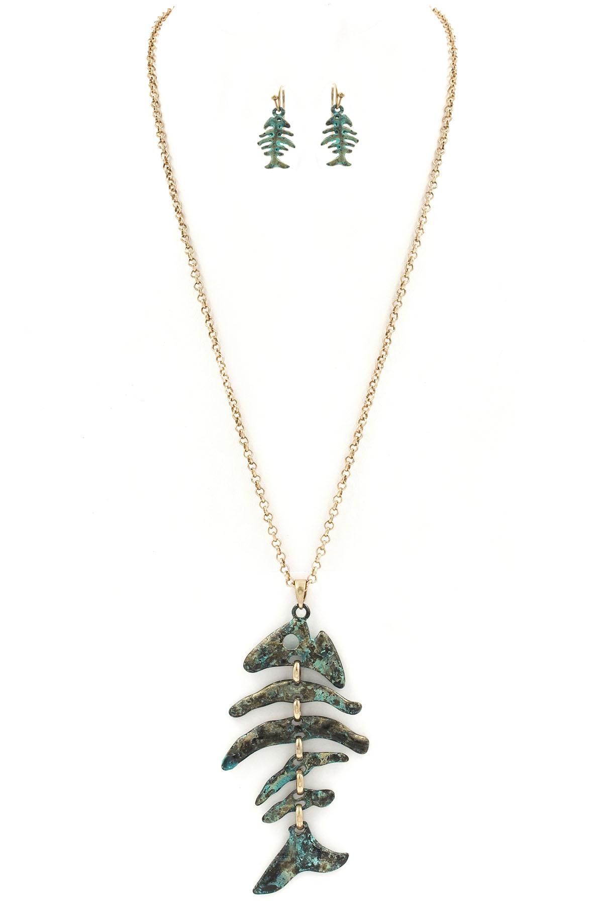 Hammered fish bone pendant necklace set necklaces for Fish bone necklace