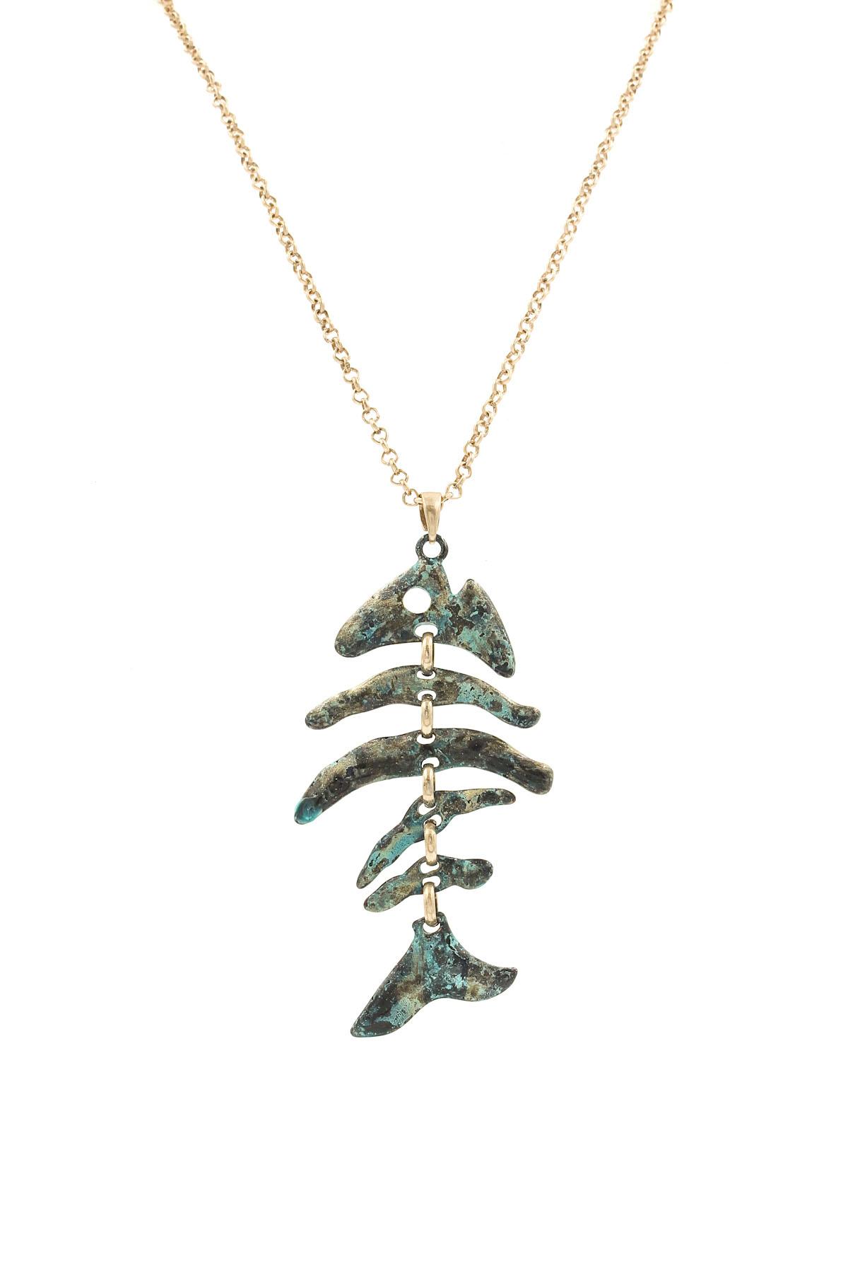 Hammered fish bone pendant necklace set necklaces for Fish skeleton necklace