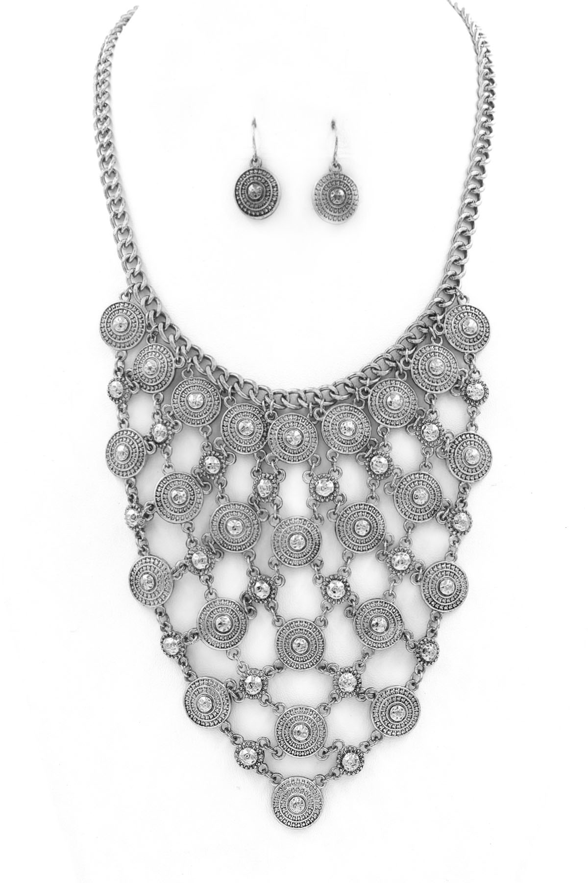 textured coin charm bib necklace set necklaces