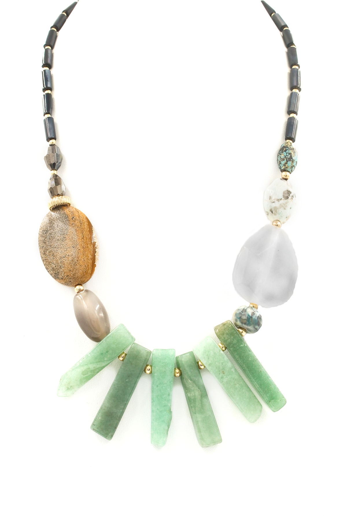 Marble Stone Jewelry : Natural stone bib necklace necklaces