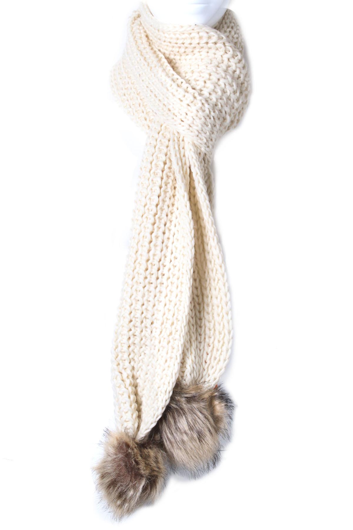 Knitting Pattern For Scarf With Pom Poms : Knit Pom Pom Scarf - Scarves