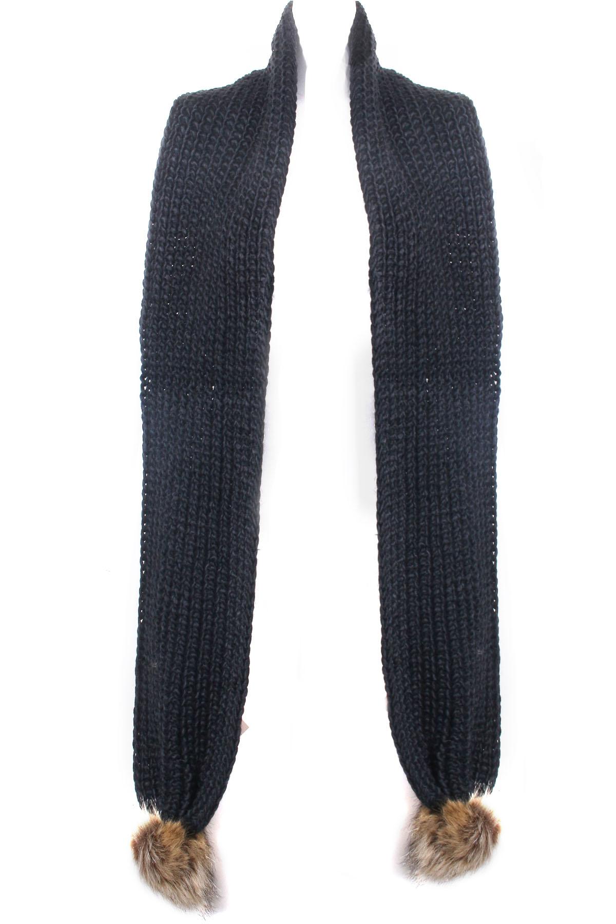 Knit Pom Pom Scarf - Scarves