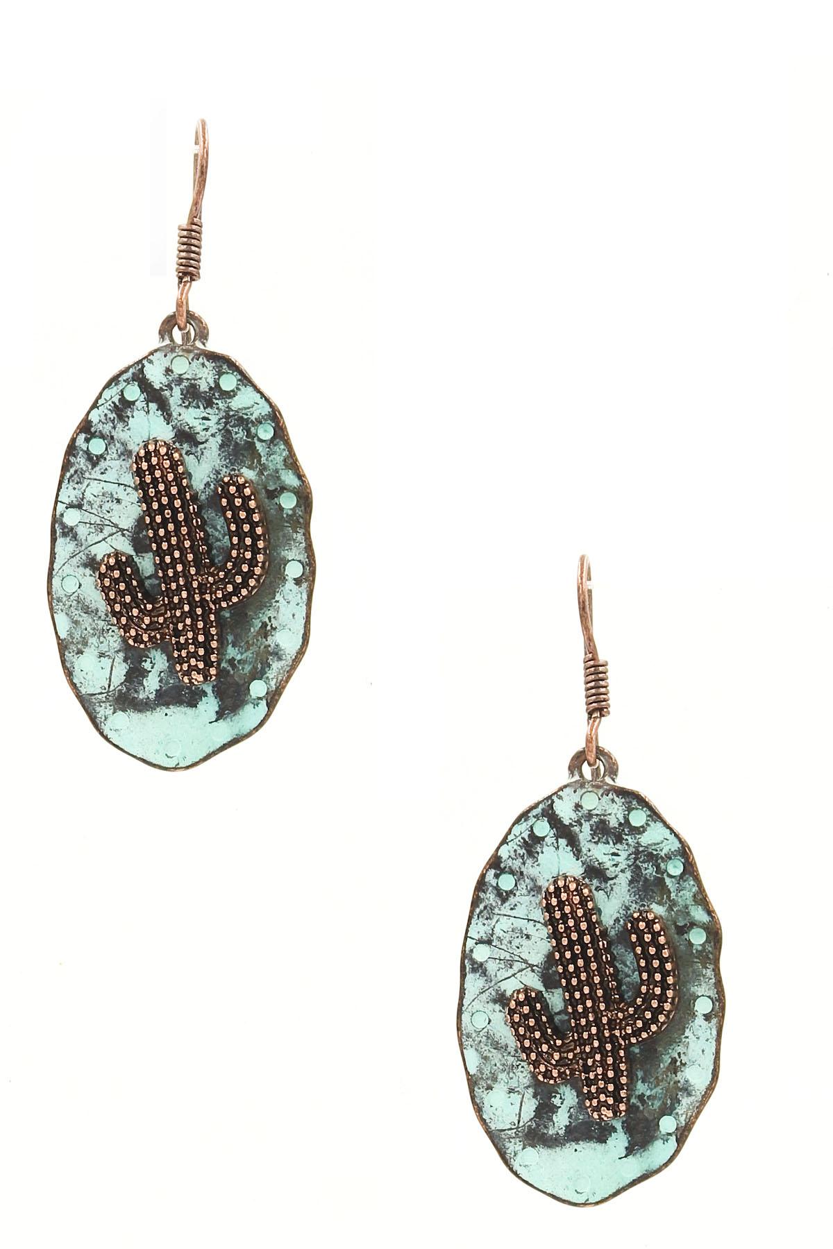 Hammered metal cactus earrings
