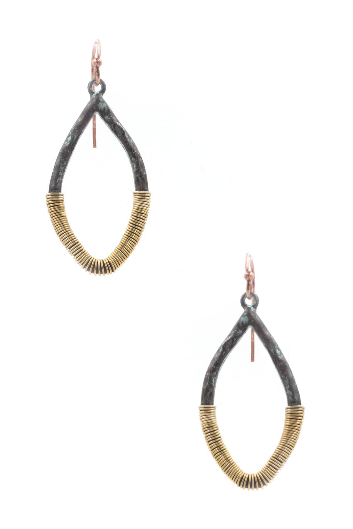 hammered metal teardrop wire wrao earrings