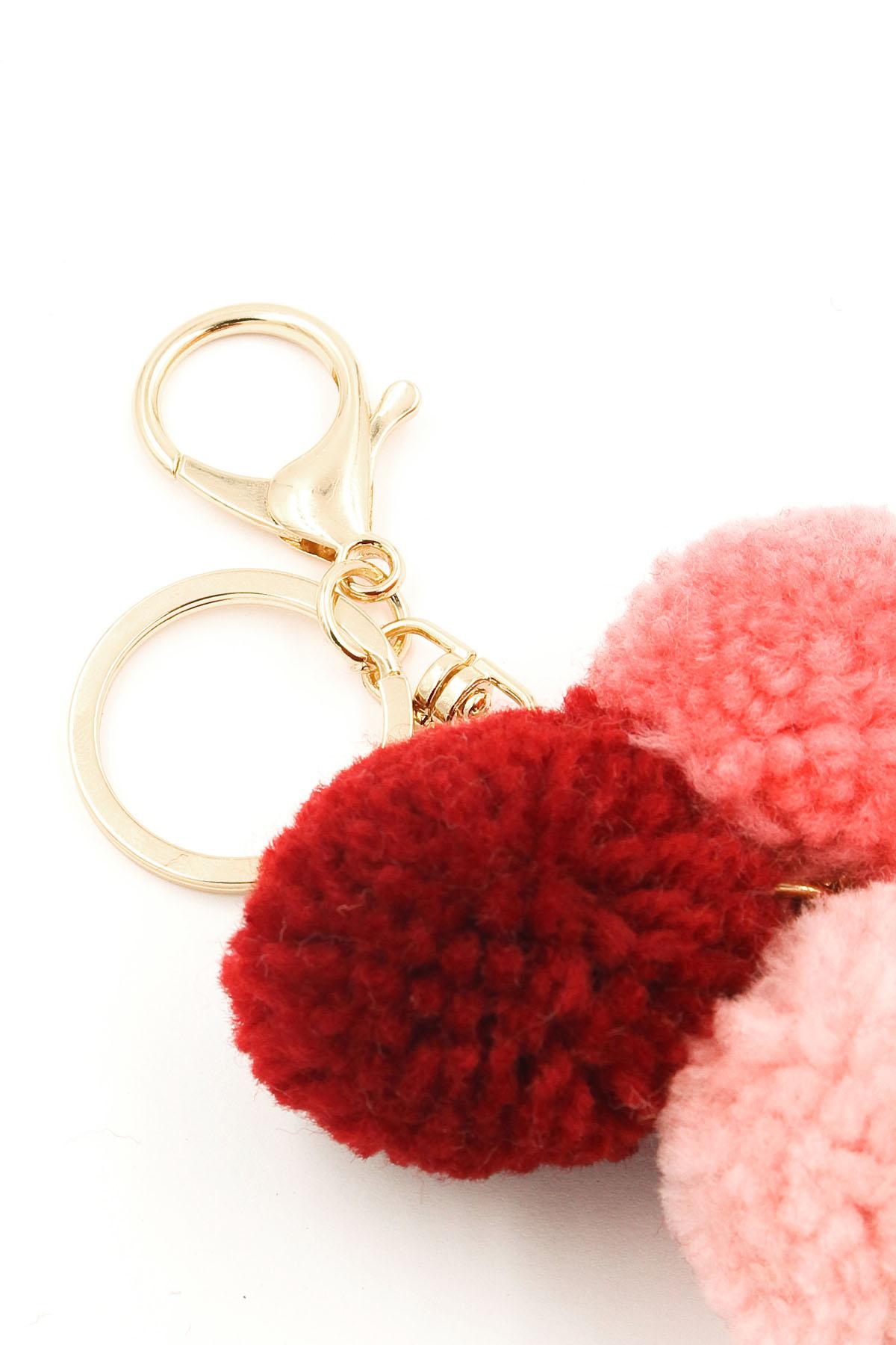 yarn pom pom key  bag chain