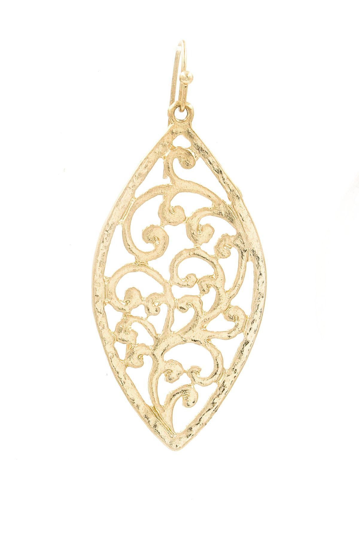 Metal oval filigree earrings