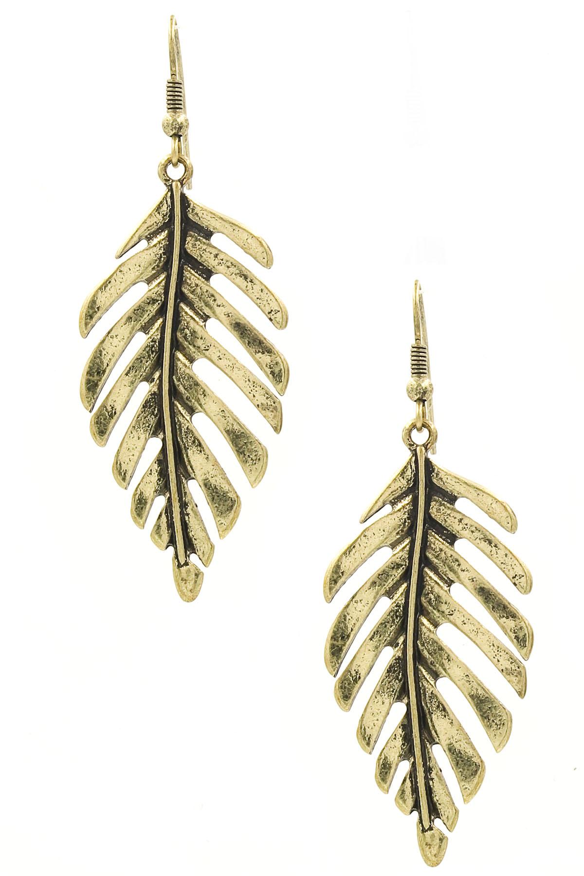 Metal leaf drop earrings