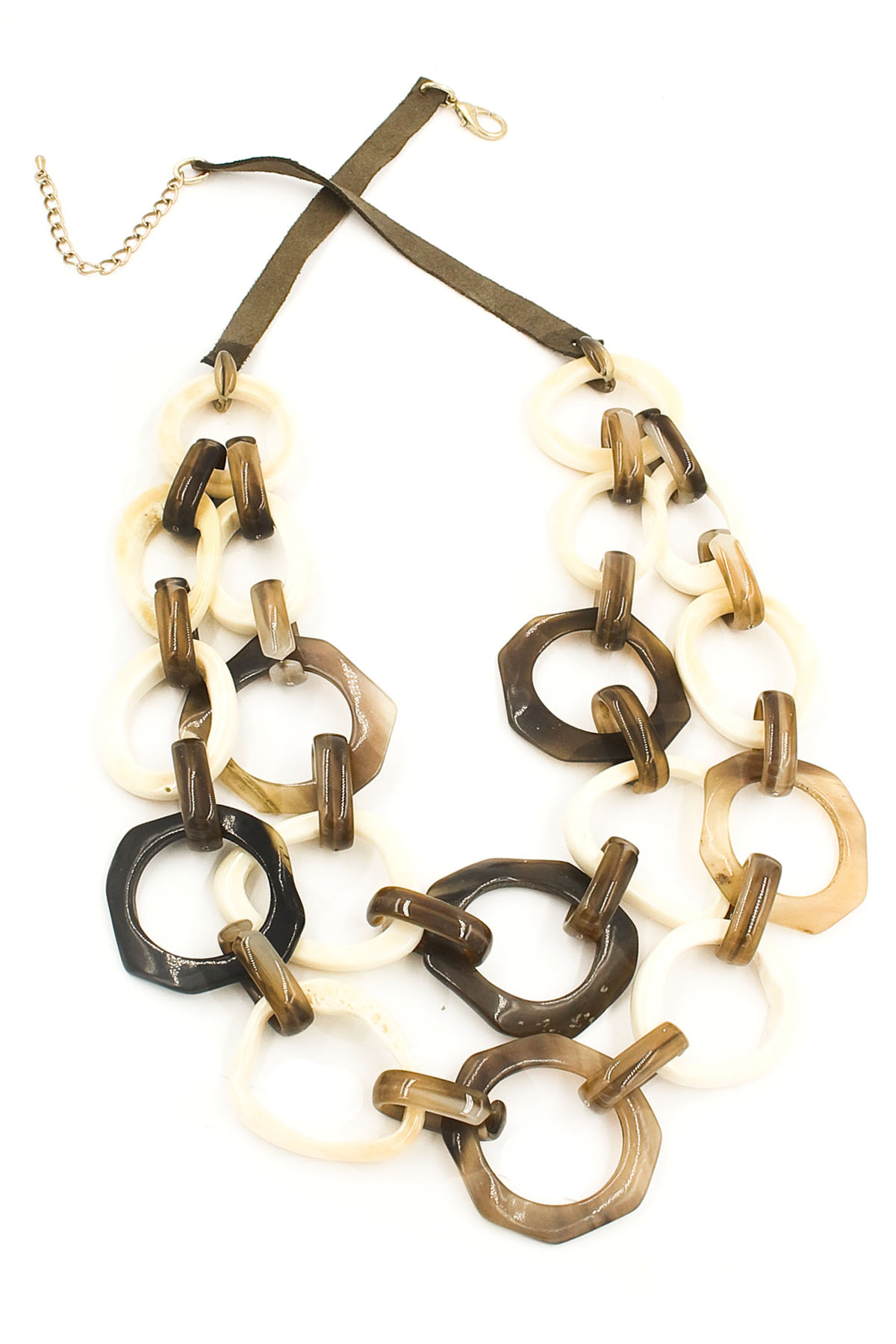 Ox Horn Disc/Octagon Cut Out Necklace - Necklaces