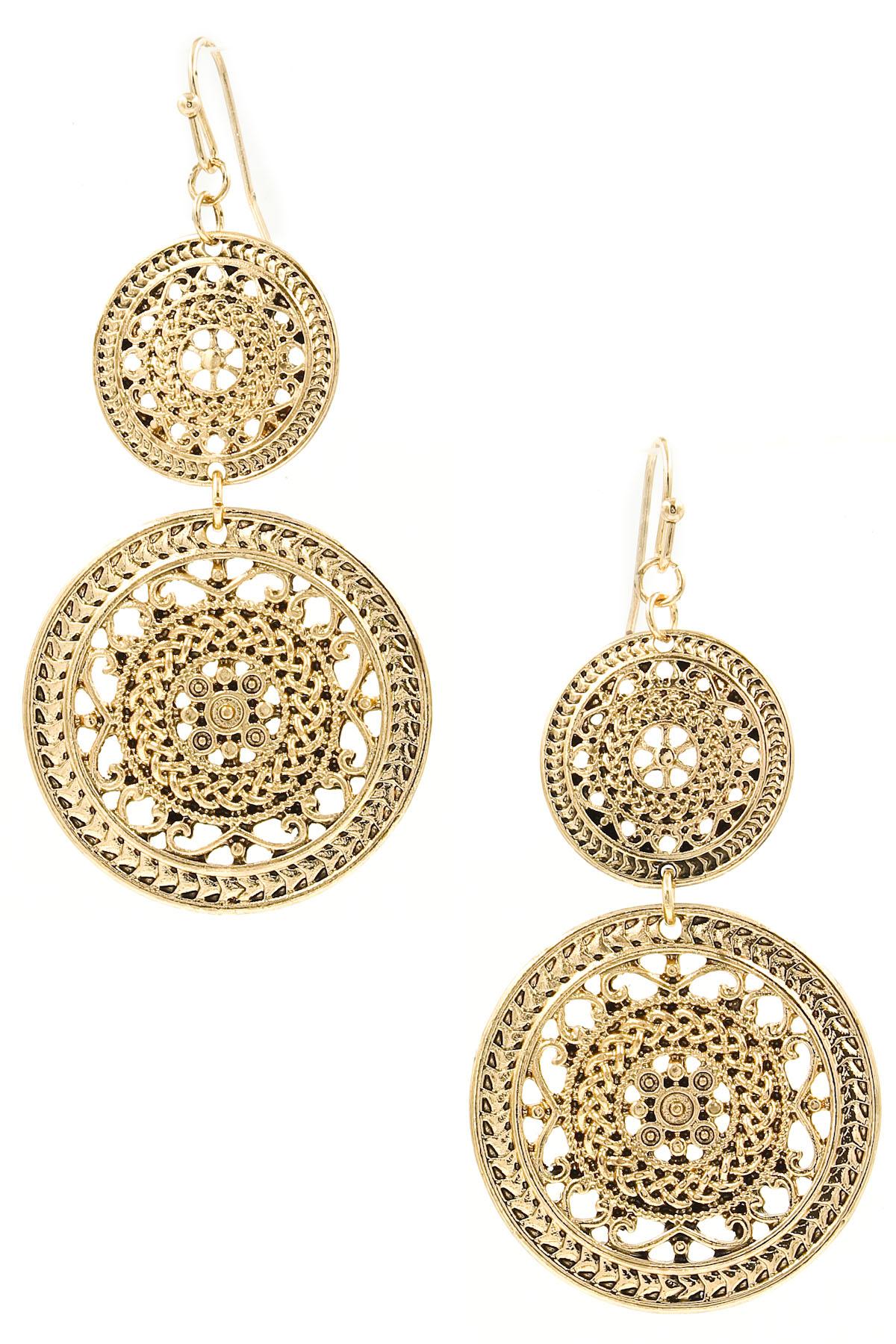 Textured metal drop earrings
