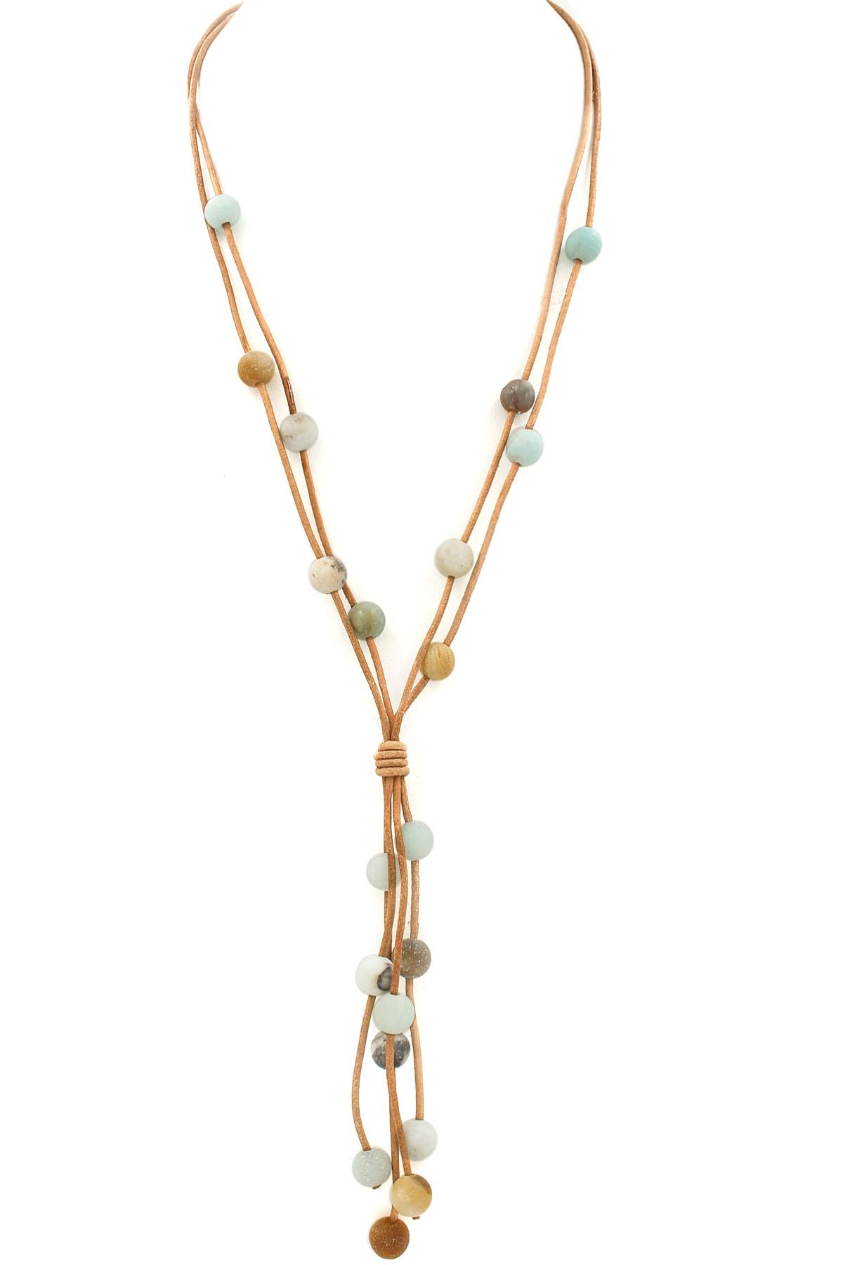 Wax Cord Semi-Precious Stone Necklace