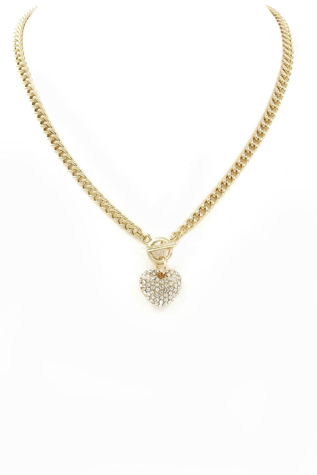 Www Hear Cut Com : Rhinestone/Hear Cut Out Pendant Toggle Necklace - Necklaces
