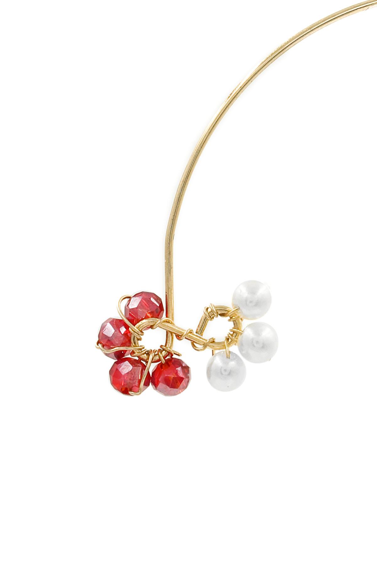 faceted bead  acrylic pearl infinity threader earrings