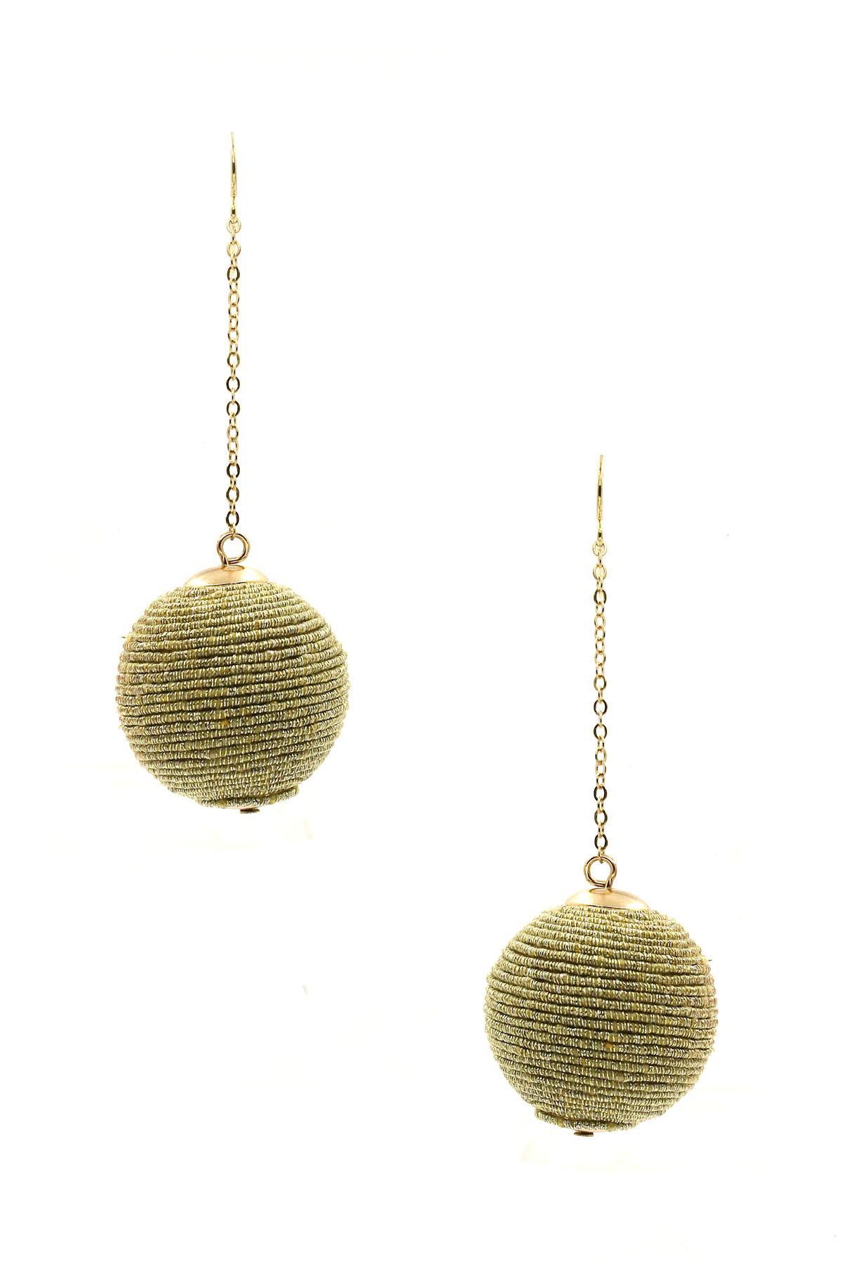 Wax Cord Ball Earrings