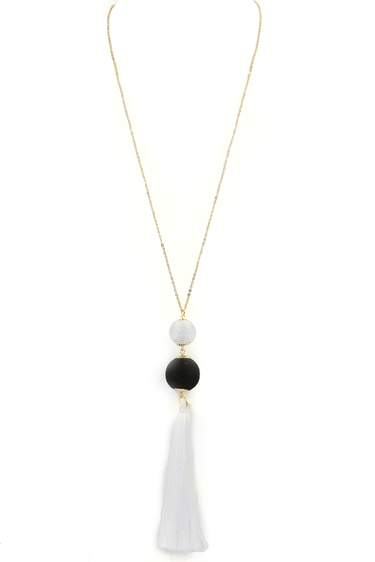 Cotton Ball/Tassel Long Necklace - Necklaces