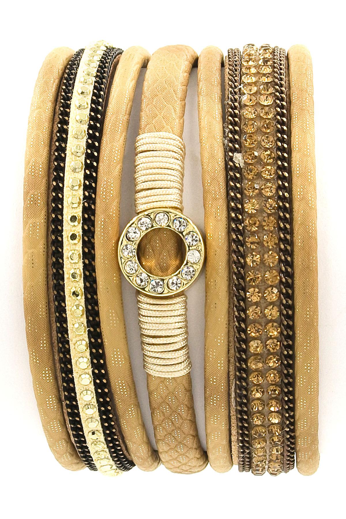 faux leather rhinestone ring bracelet