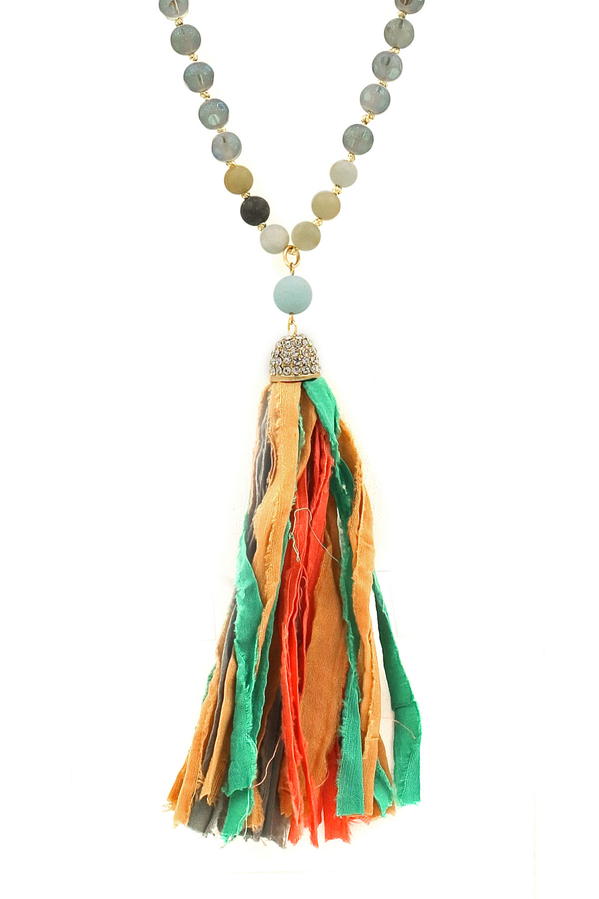 fabric tassel long necklace
