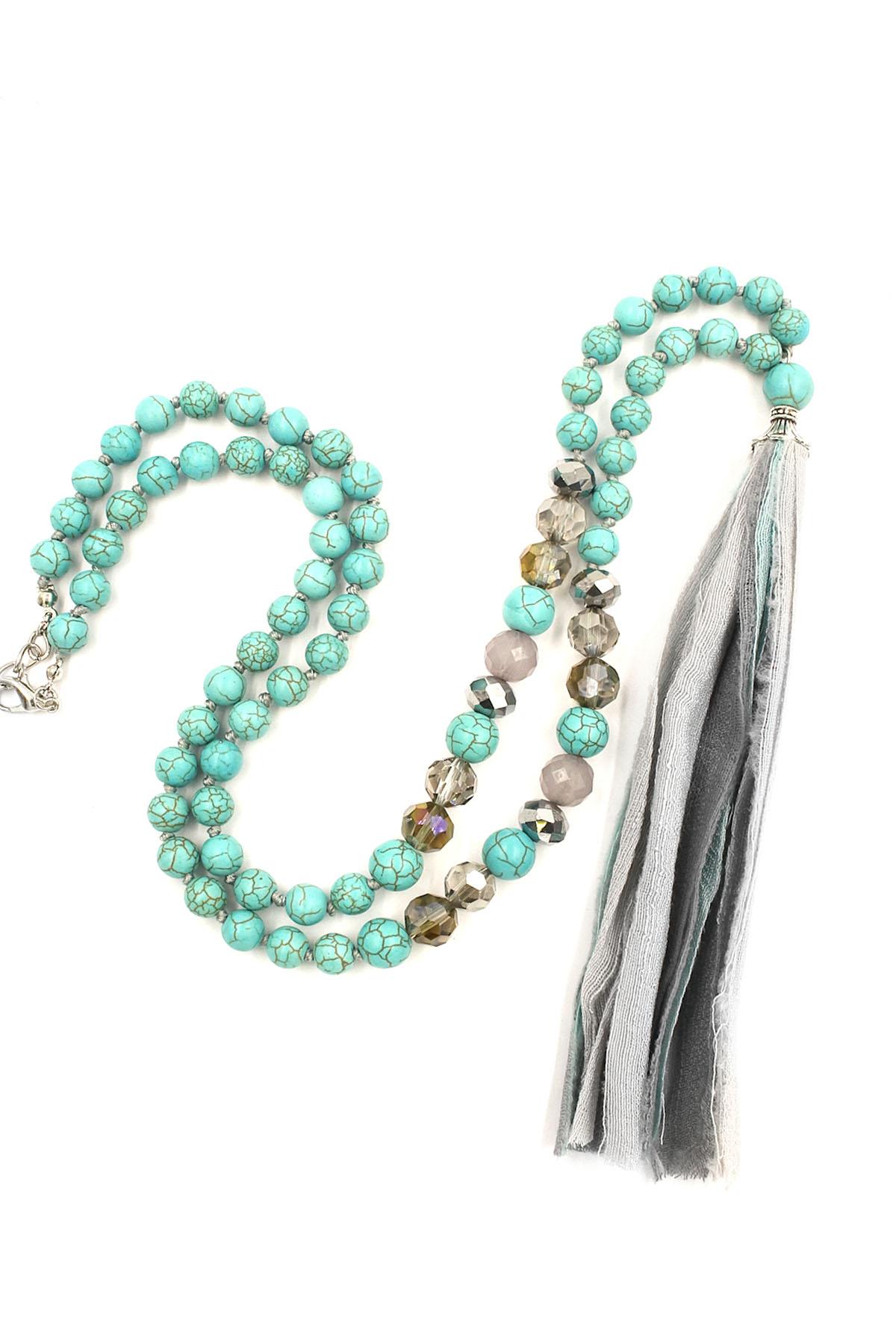 fabric tassel long necklace set