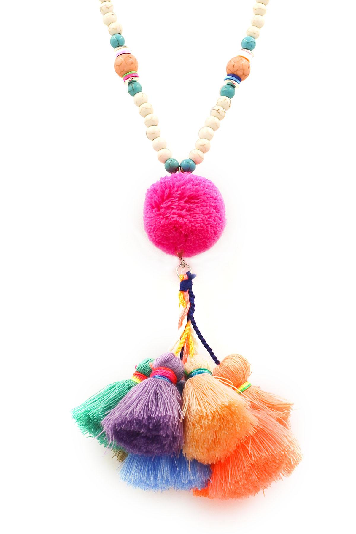cotton pom pom  tassel long necklace set