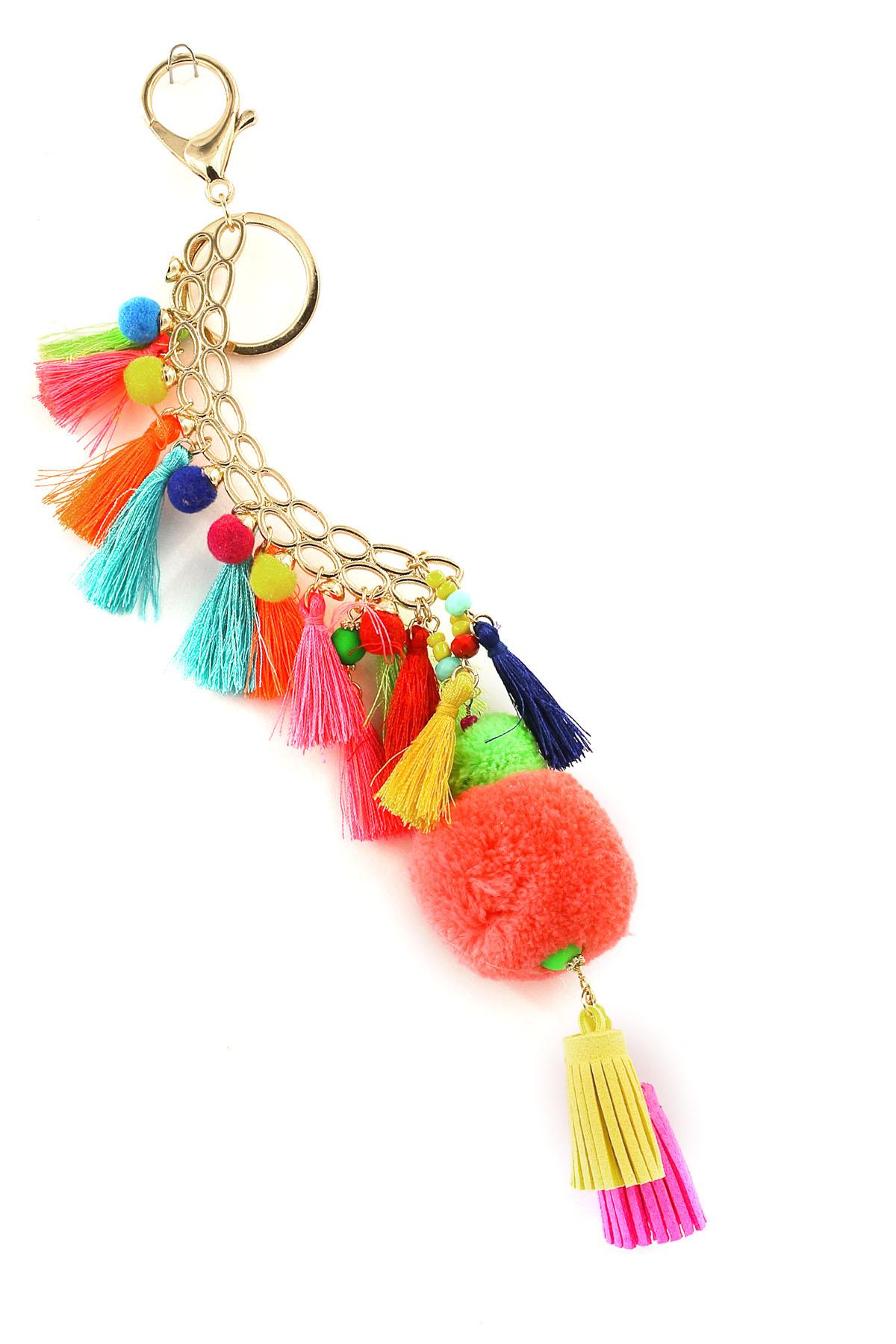 Pom Pom/Faux Suede/ Tassel Key Chain - Key Chains