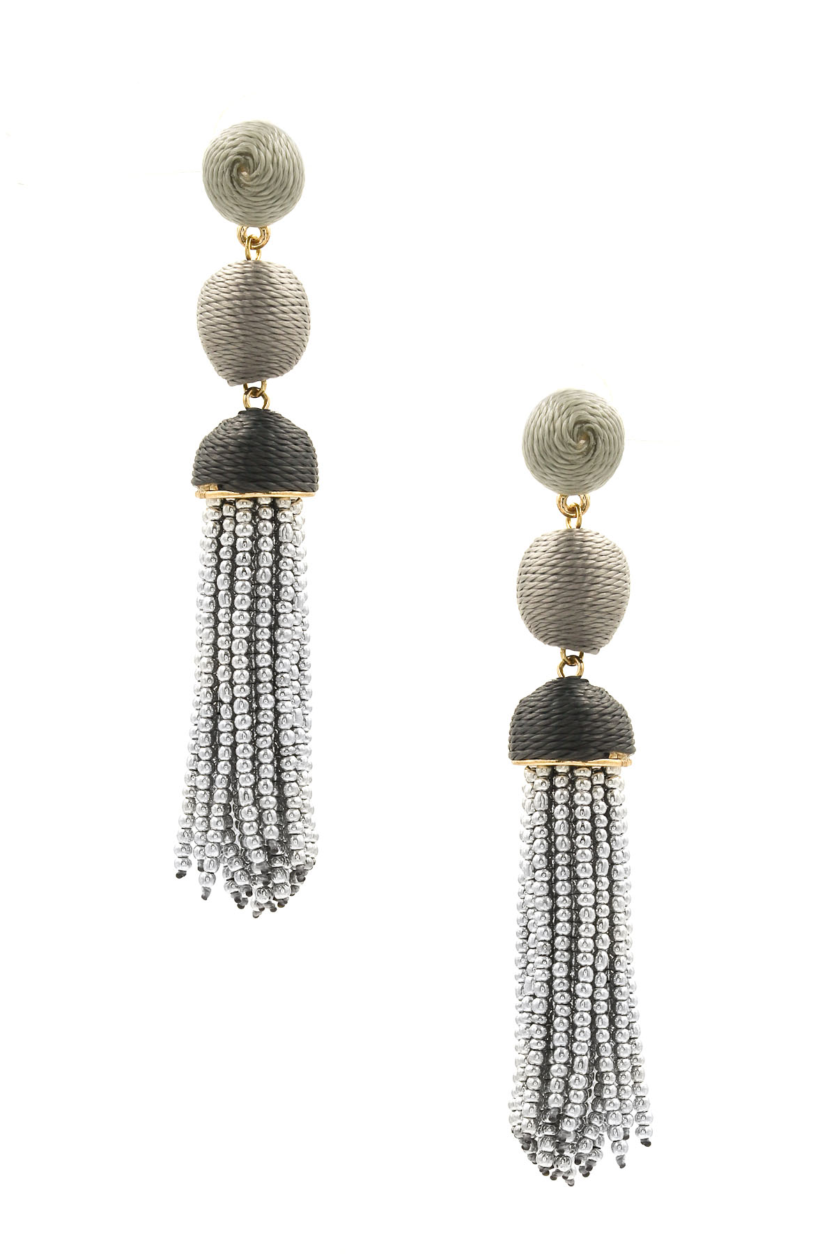cotton seed bead tassel earrings