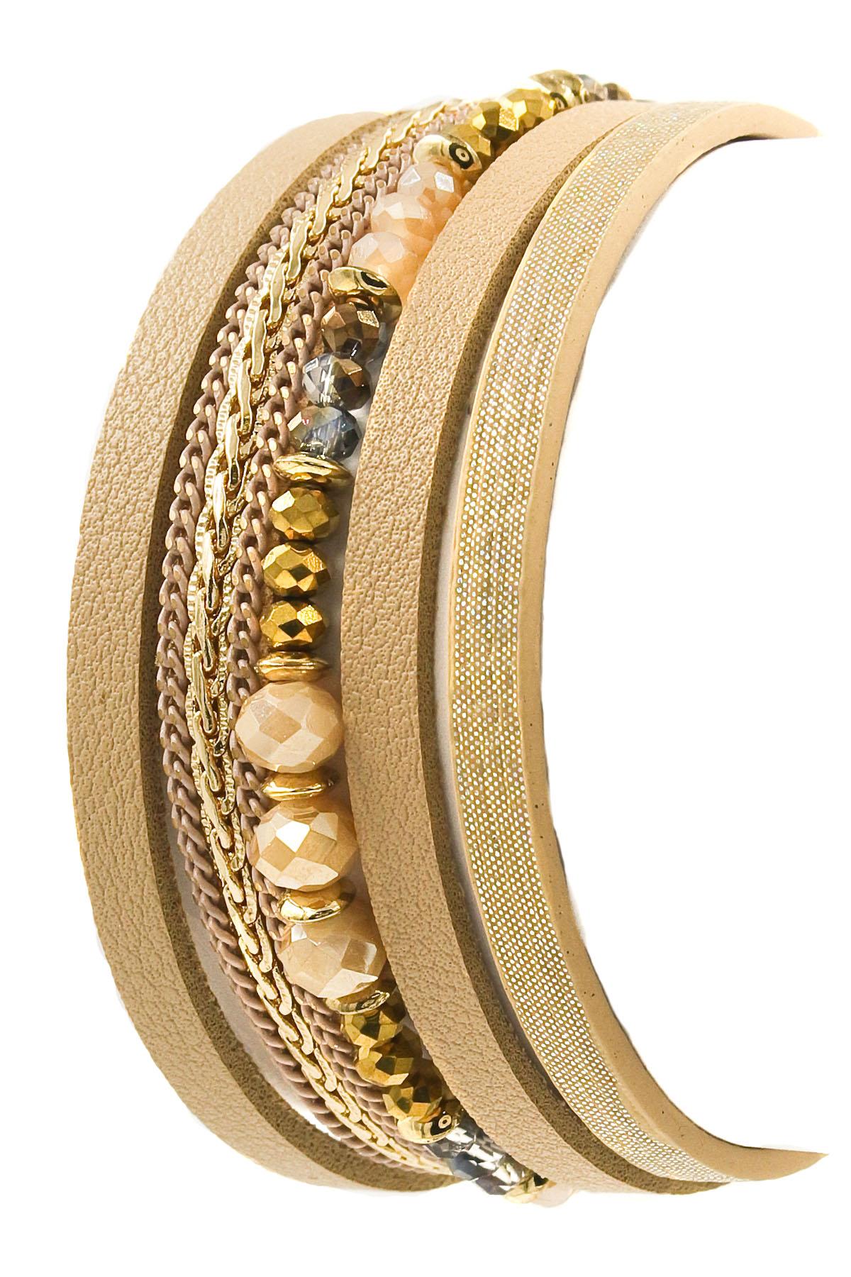 Faux Leather Faceted Bead Bracelet Bracelets
