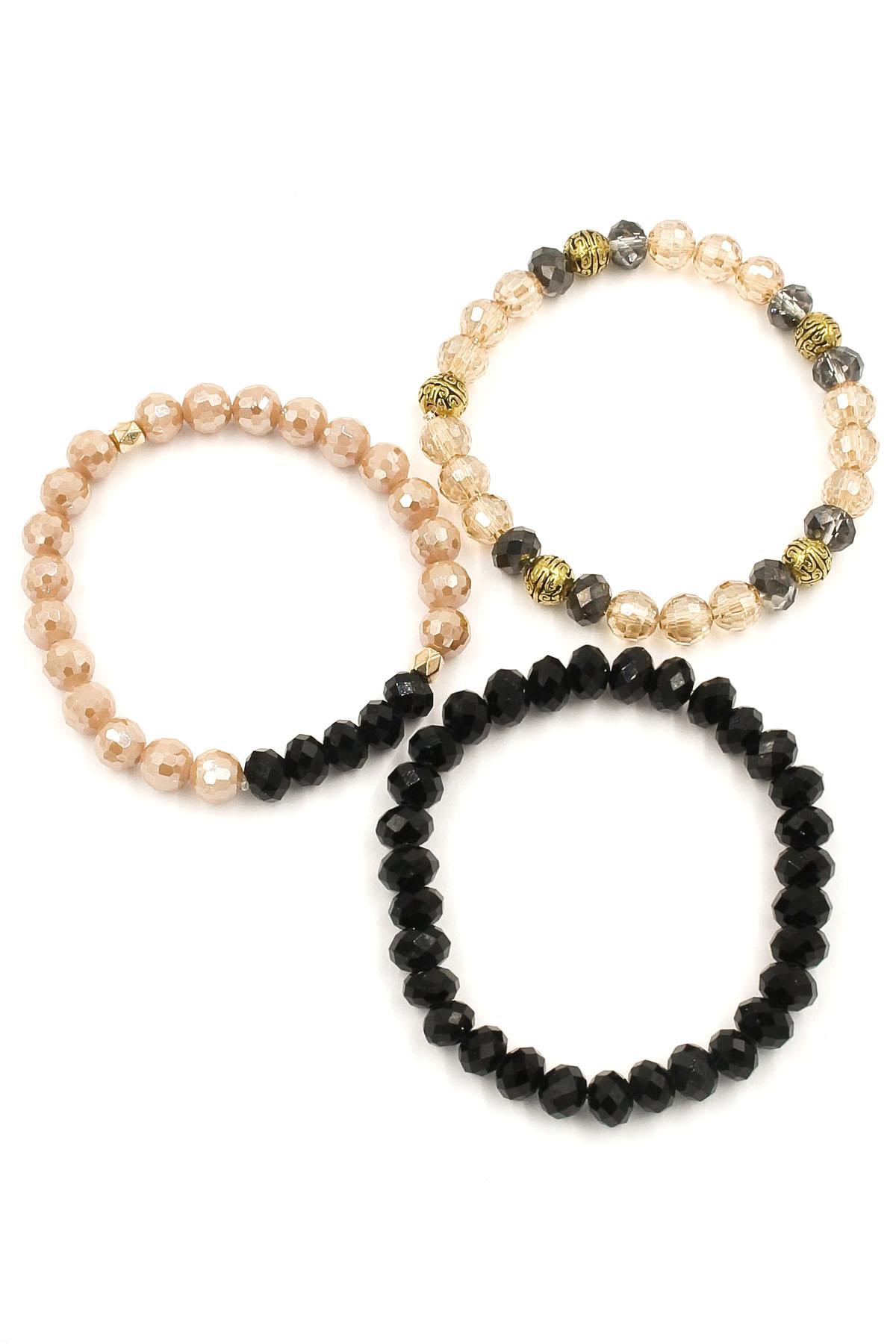 faceted bead stretch bracelet set bracelets
