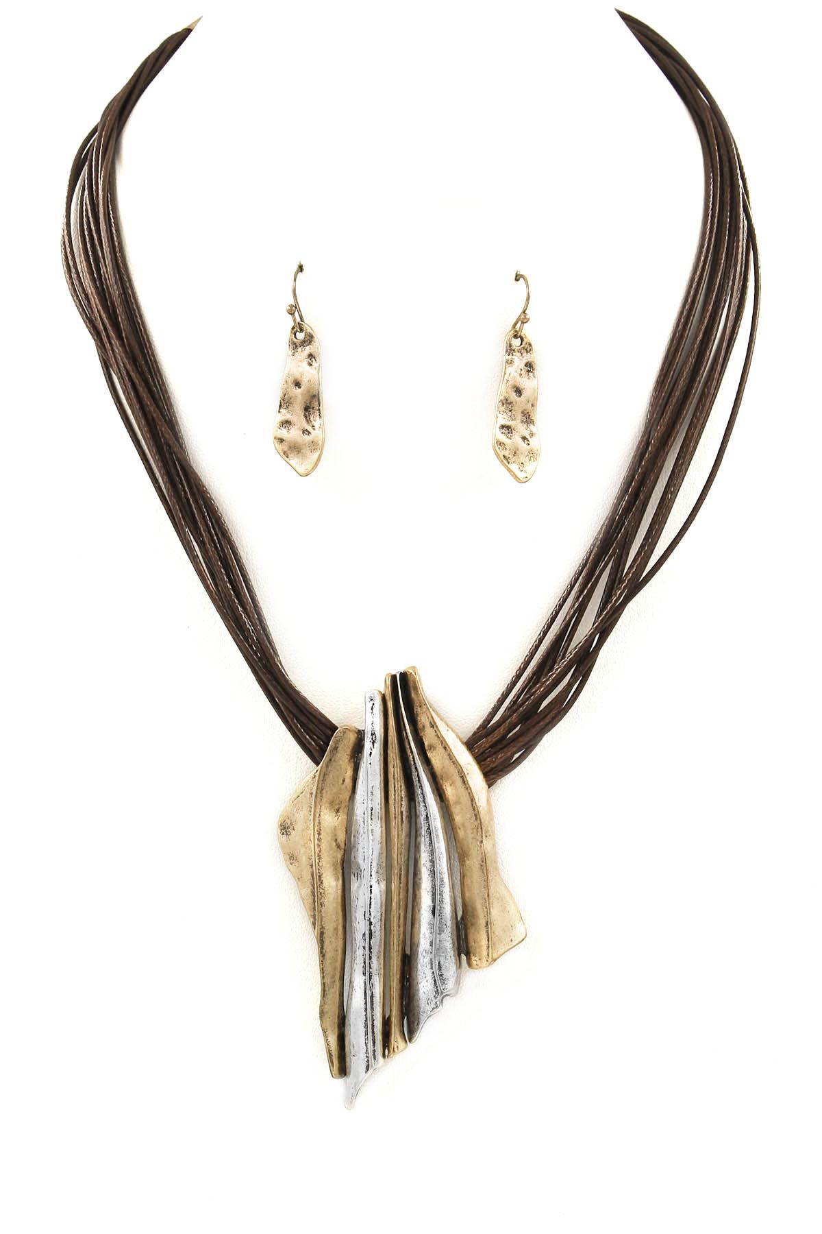 Metal Bar Pendant Wax Cord Necklace Set