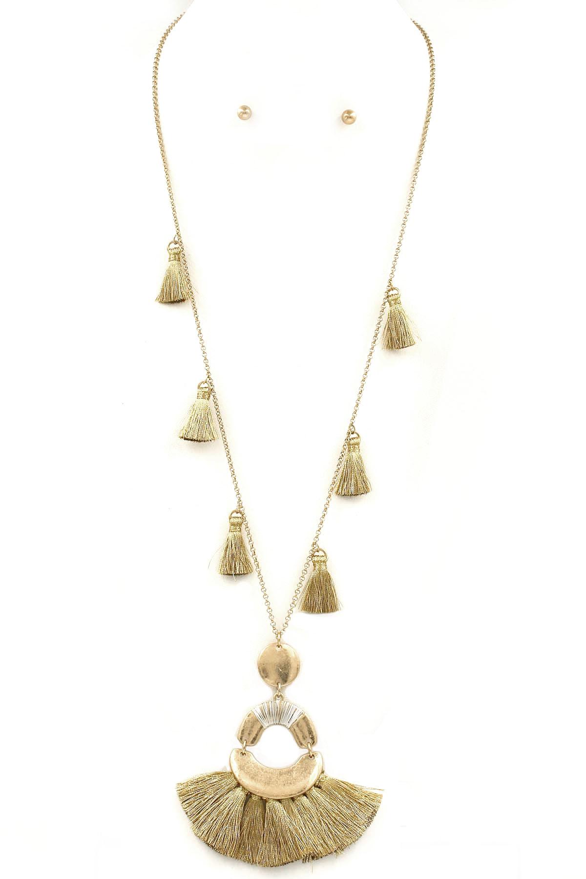cotton tassel fringe metal necklace set