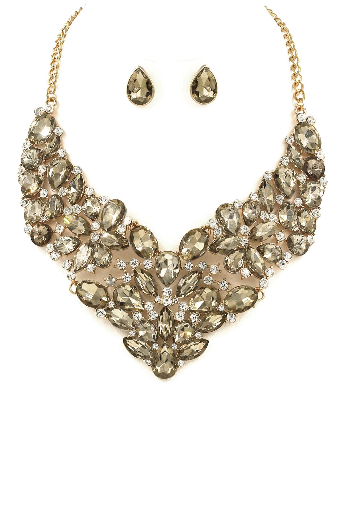 Metal Floral Teardrop Necklace Set - Necklaces