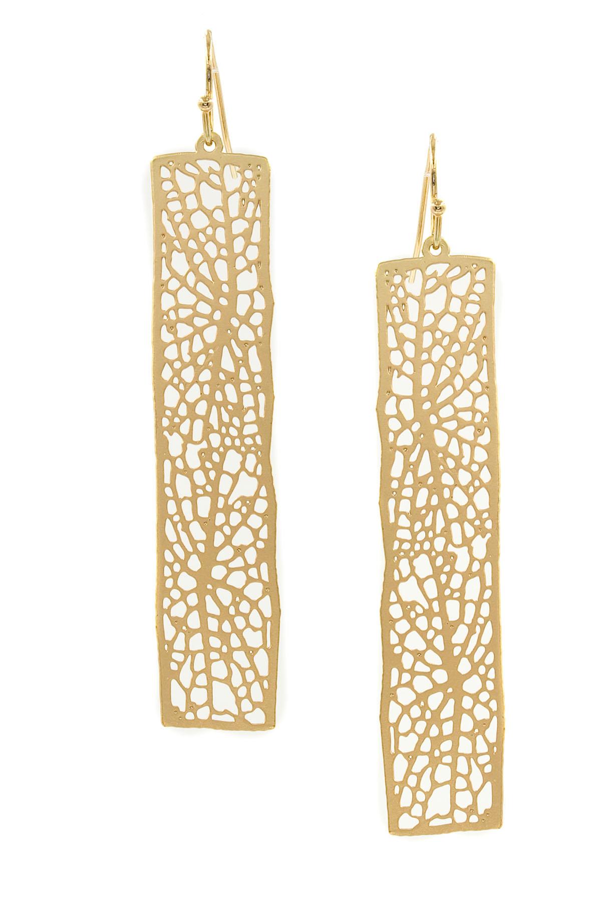 14K Gold Rectangular Earrings (Long) - earrings