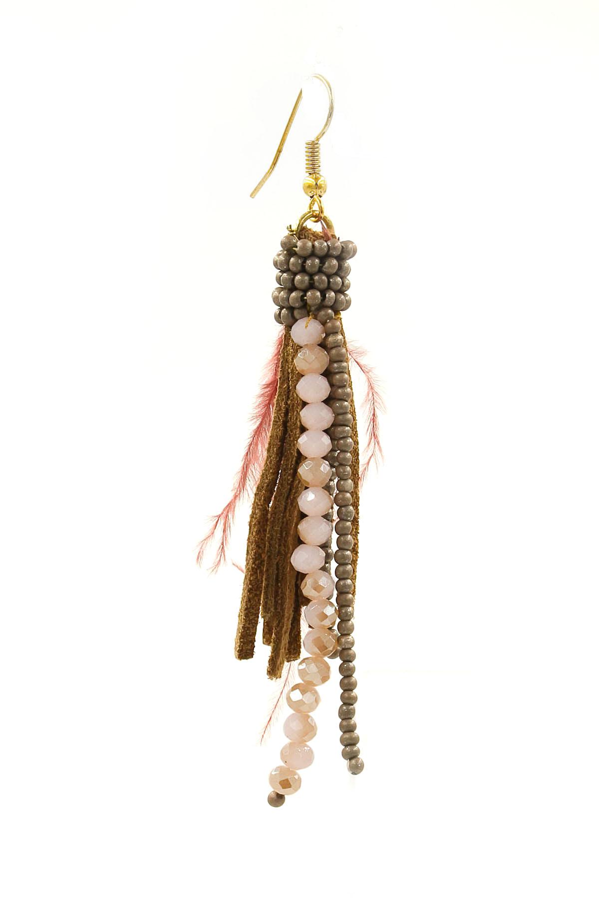 Seed Bead Feather Tassel Earrings