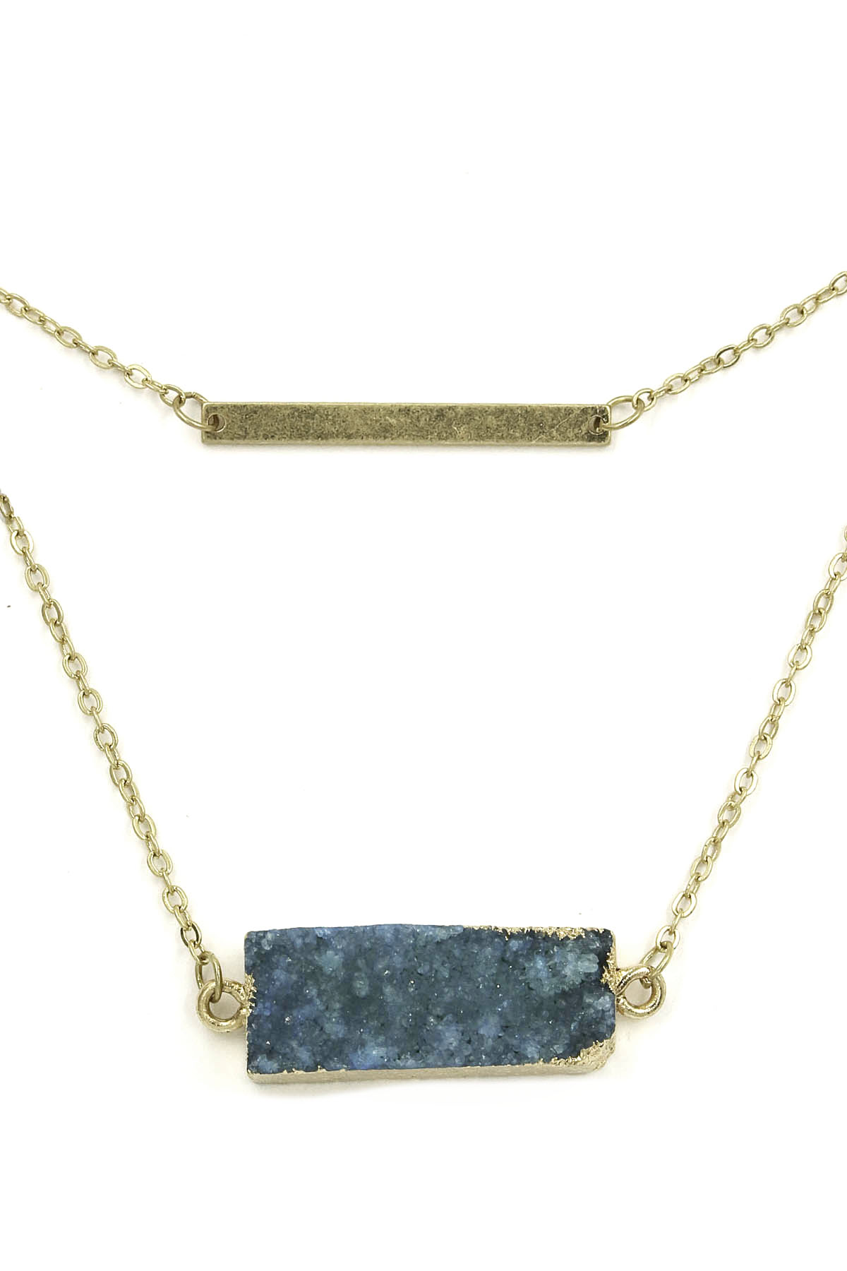 Metal Bar/Rectangular Druzy Stone Necklace - Necklaces