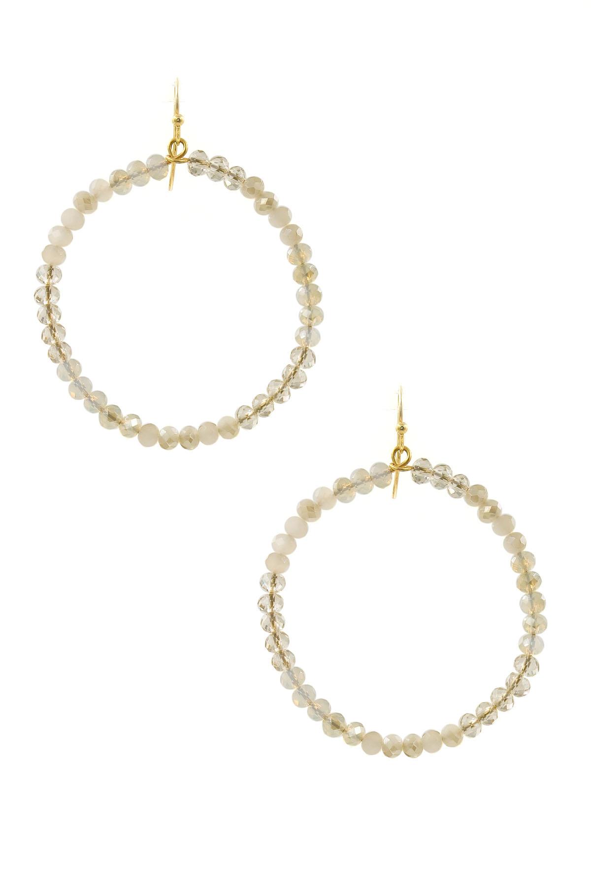 Faceted Bead Hoop Drop Earrings