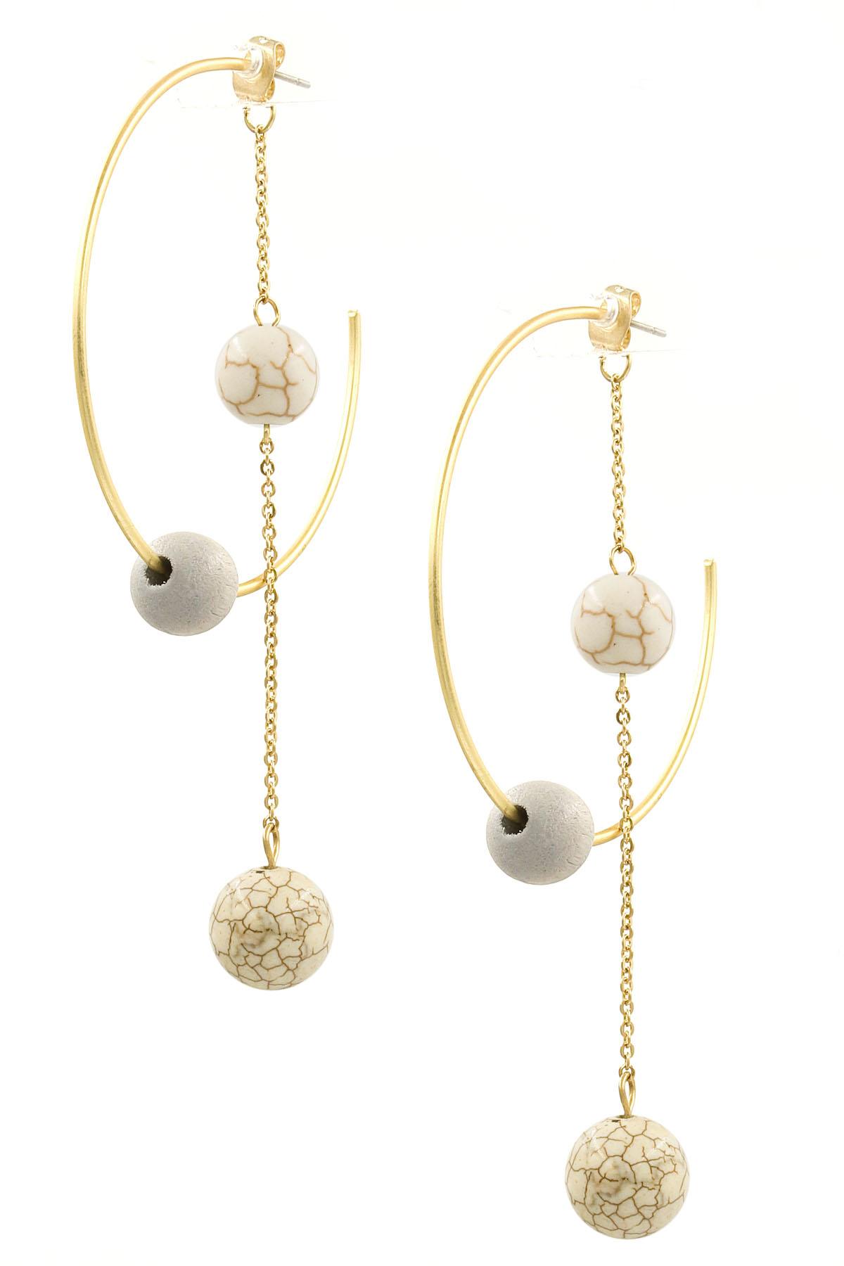 0b5b561765c53 Wood/Semi-Precous Stone Tassel Hoop Earrings