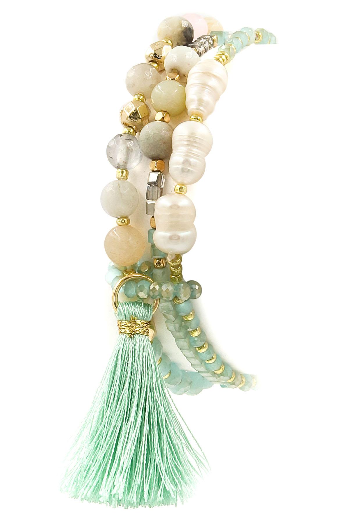 Glass Bead/Pearl Tassel Bracelet - Bracelets