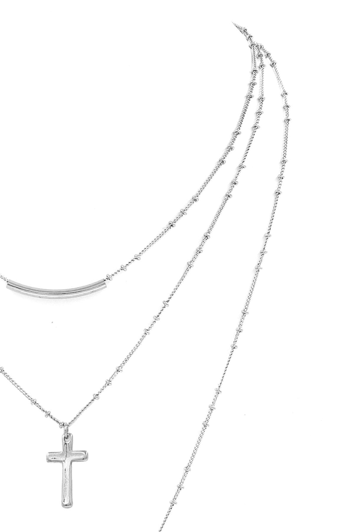 Layered Cross//Circle Charm Necklace Set