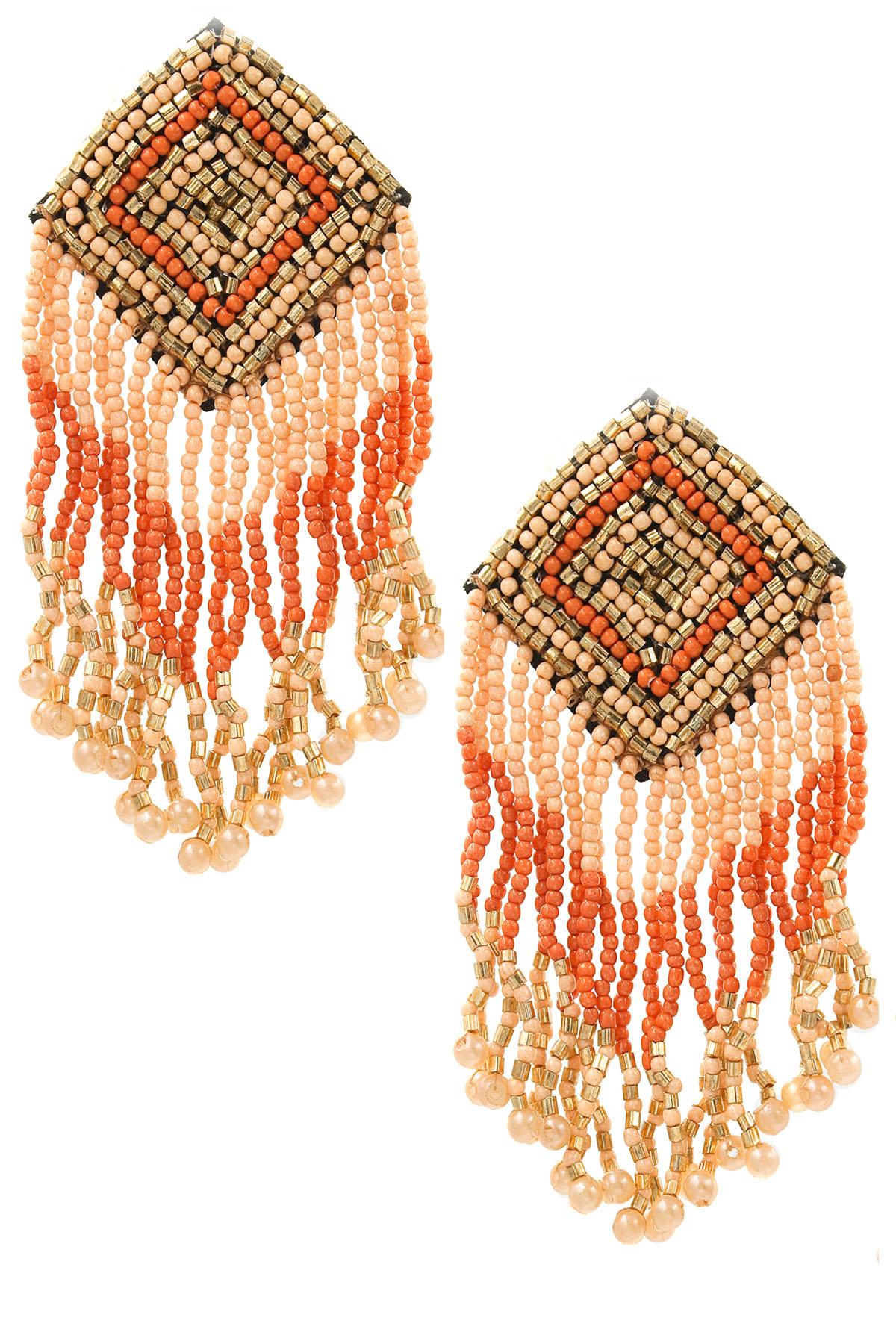 Diamond Seed Bead Tassel Earrings