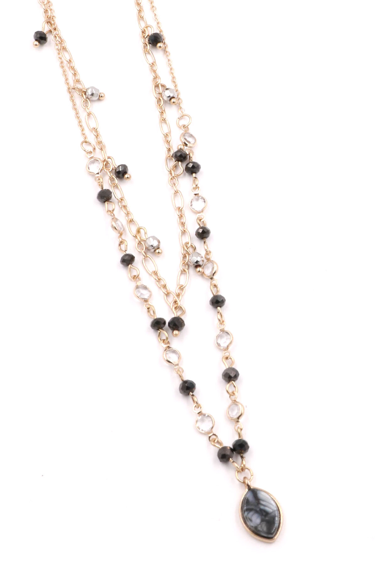 Layered Glass Bead/Rhinestone Necklace - Necklaces