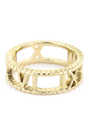 Textured Roman Numeral Band Ring