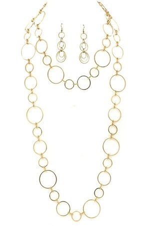 Linked Metal Circle Necklace Set