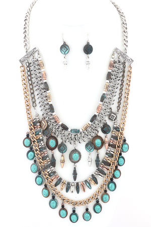 Layered Chain and Stone Necklace Set